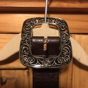GH Bass Leather And Silver Women's Belt M